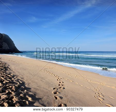 Huge sandy beach on the Atlantic coast of Portugal. Early morning