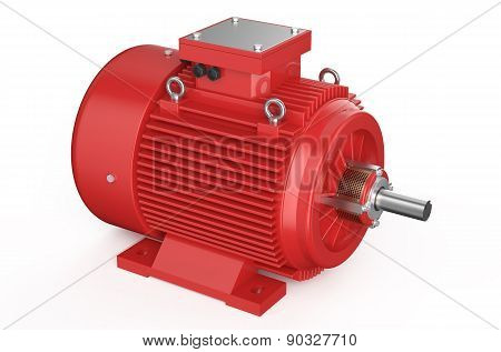Red Industrial Electric Motor