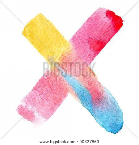 Letter X - colorful watercolor abc
