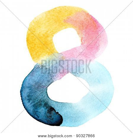 Eight - Colorful watercolor numbers