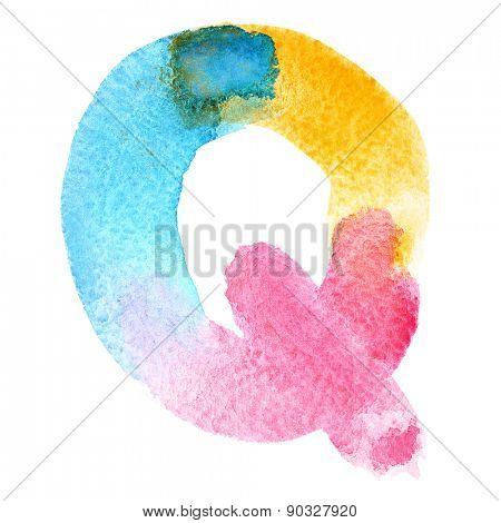Letter Q - colorful watercolor abc