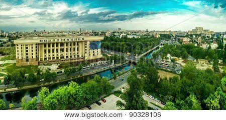Bucharest -- Radio House Ruin Aerial View