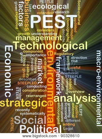 Background concept wordcloud illustration of political economic social technological PEST glowing light