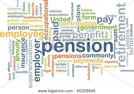 Background concept wordcloud illustration of pension