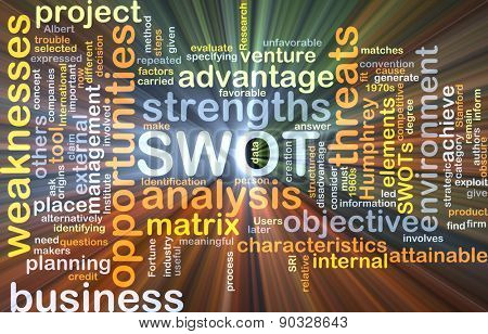 Background concept wordcloud illustration of strengths weakness opportunities threat SWOT glowing light