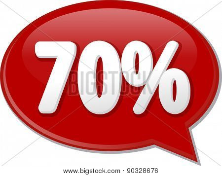 Word speech bubble illustration of discussion forum blog percent discount seventy 70