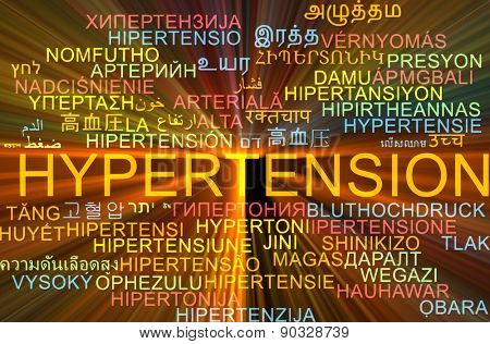 Background concept wordcloud multilanguage international many language illustration of hypertension glowing light