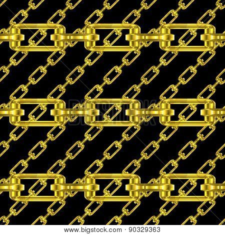 Golden Chains With Black Background Seamless Texture