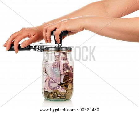 Financial reserves. money in jar