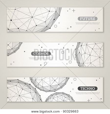 Banners set with wireframe mesh polygonal elements.