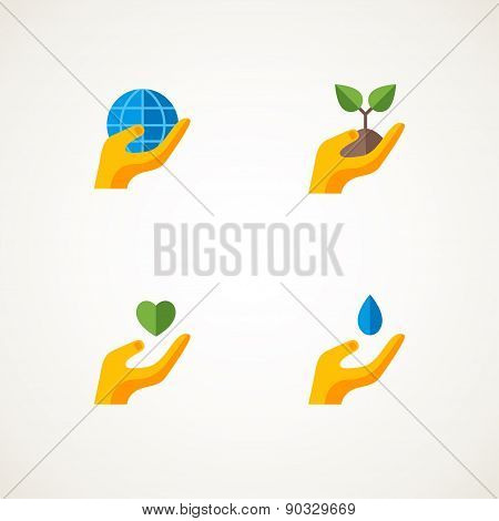 Sign with hand holding elements Earth, heart, sprout, water drop.