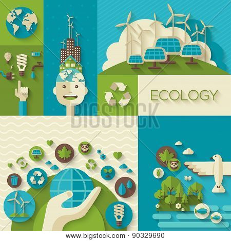 Flat design vector concept illustration with icons of ecology, environment, green energy