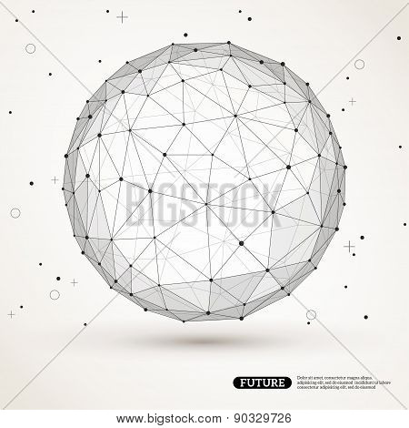 Polygonal Sphere with connected lines and dots.