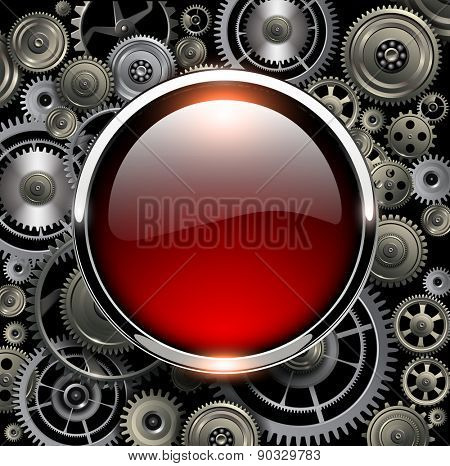 Red glossy button on gears background, vector illustration.