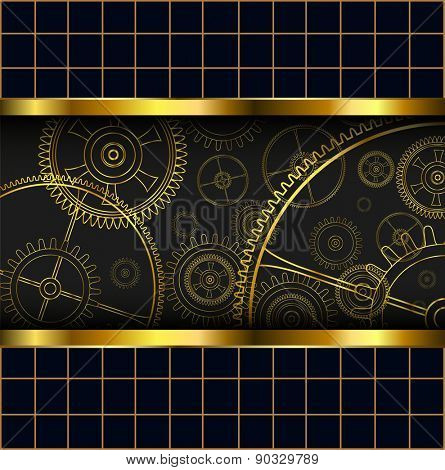 Abstract background with technology machine gears gold, vector illustration.
