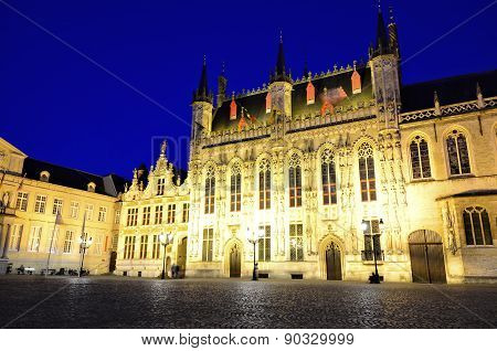 Bruges City Hall and Burg square at night, Belgium