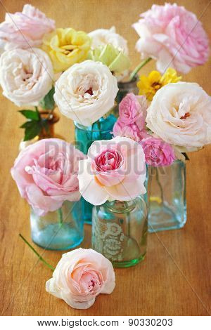 roses on a table