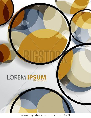 geometric circle shape overlapping frame outline business background eps10 vector