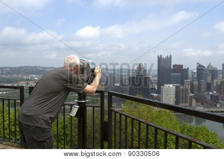 Tourists Looking At Skyline