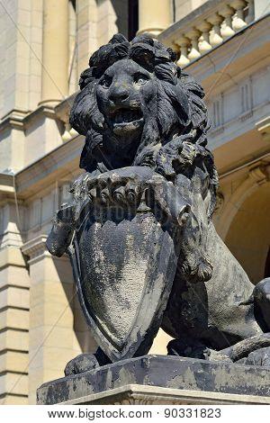 Stone Lion Of Koenigsberg. Kaliningrad (konigsberg Before 1946), Russia