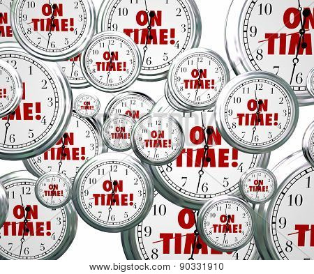 On Time words on clocks flying by to illustrate punctuality for staying on schedule for meeting and improtant appointments or events