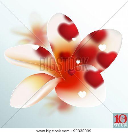 eps10 vector blossom flower red defocused lights frangipani floral background