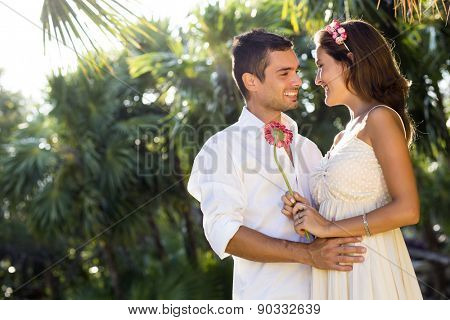 Couple outdoors enjoying a spring day in nature