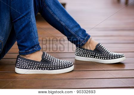 Man using flat shoes with spikes