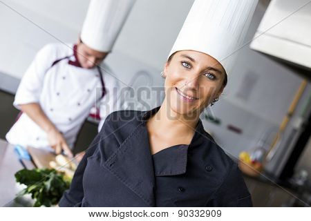 Two latin chefs in kitchen