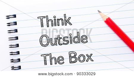 Think Outside The Box Text Written On Notebook Page