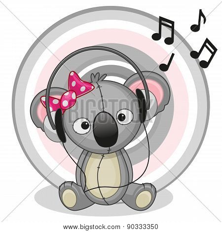 Koala With Headphones