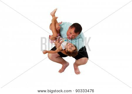Brazilian father and daughter playing on white background