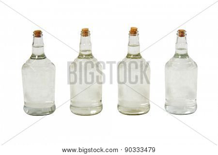 Brazilian cachaca bottles isolated on white background with path.