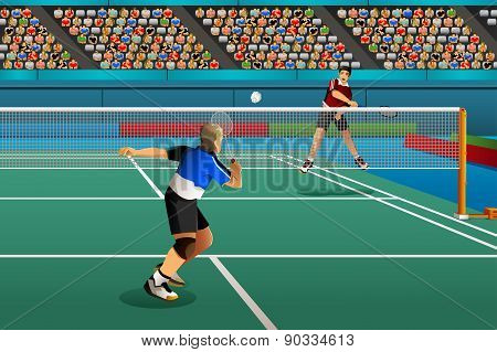 Men Playing Badminton In The Competition