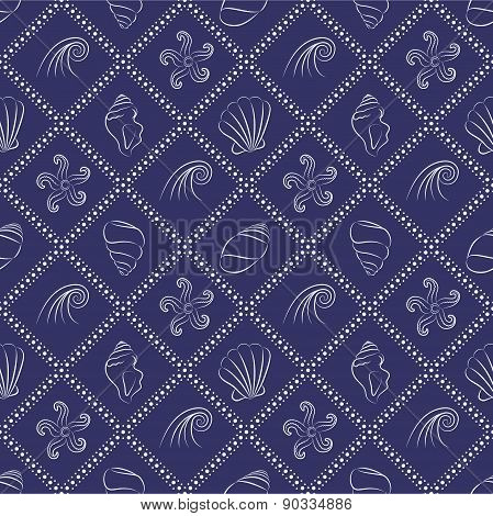 Seashell nautical pattern in navy blue and white colors