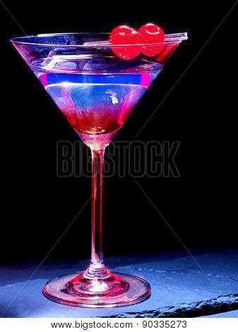 Transparent cherry cocktail on black background. Cocktail card 49