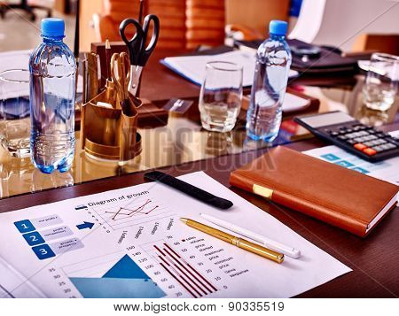 Business still life with stationery on table in office.