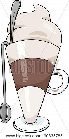 Latte Macchiato Cartoon Illustration