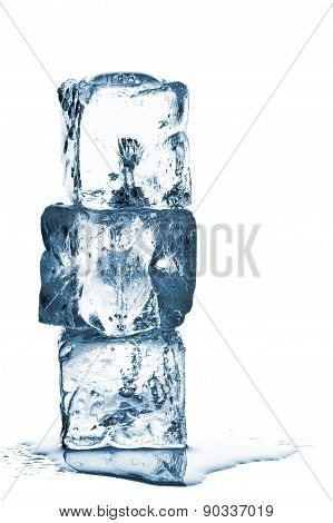 Melting Ice Cube Stack With Water