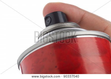 Macro Shot Of A Male Hand Holding A Spray Can