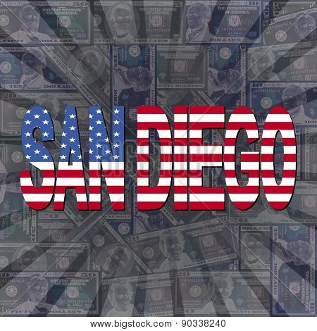 San Diego flag text on dollars sunburst illustration