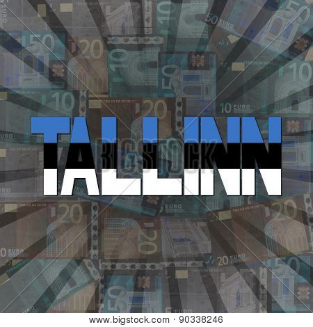 Talinn flag text on Euros sunburst illustration