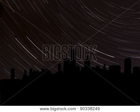Chicago skyline silhouette with star trails illustration