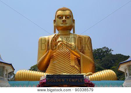 Buddha on Dambula golden temple in Sri lanka - great buddhistic landmark