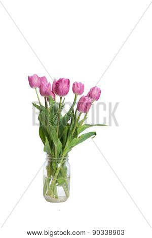 Pink bouquet of tulips
