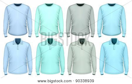 Men's t-shirt and polo-shirt long sleeve. Shades of blue. Vector illustration.