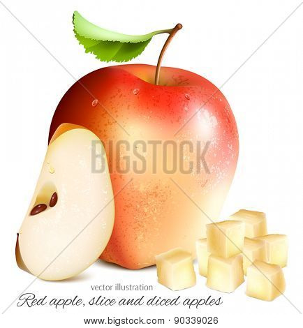 Red apple with slices. Vector illustration