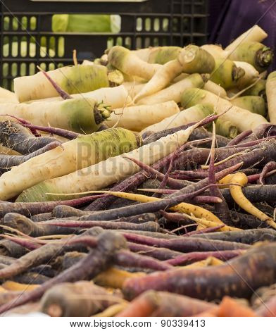 Fresh Organic Vegetables - Pile Of Root Vegetables At A Farmer's Market