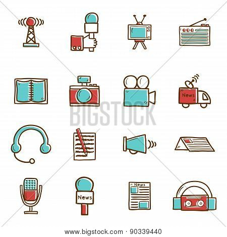 Set of hand drawn journalism icons