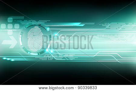 Abstract Technology Background.security System Concept With Fingerprint.vector Illustration